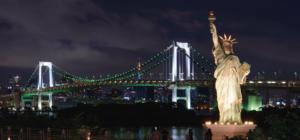 Estatua de la Llibertad iluminada por un generador de energía Cummins - Statue of Liberty powered by a Cummins power generator